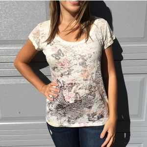 Maurices Cream Butterfly Scoop Neck Tee